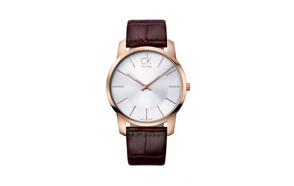 Gents classic CK watch. Featuring a rose gold PVD case with silver dial on a brown leather strap