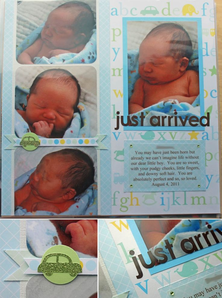 baby scrapbook ideas | Katie's Nesting Spot: Baby Boy Scrapbook Pages: Just Arrived