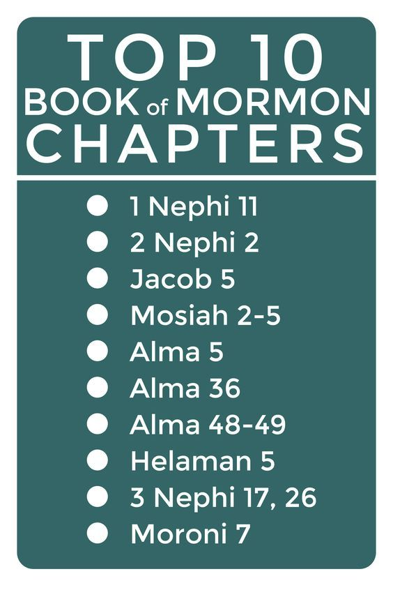 Top 10 Book of Mormon Chapters. In her opinion. :) But a great list!
