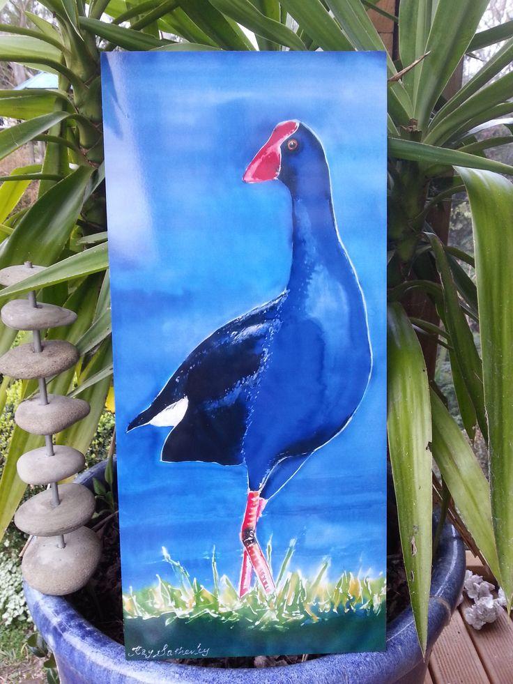 OUTDOOR ART, Pukeko Bird,  New Zealand, Garden Art, Bird Art, Blue Pukeko Bird by Beach,Panel from my original silk painting, weatherproof by KaySatherleyArt on Etsy