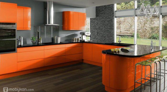 صور مطابخ حديثه و اشكال مطابخ مودرن و مميزه من موبيكان Orange Kitchen Decor Blue Kitchen Decor Kitchen Design Decor