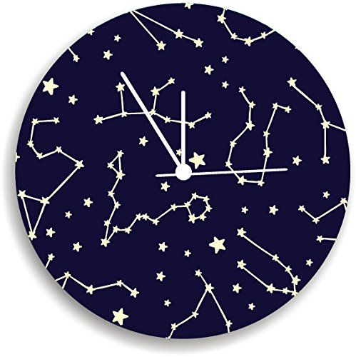 """constellation Wall Clock, Kids Bedroom Wall Clock, Nursery Room Decor. Nursery Wall Clock, Giving a new atmosphere to any nursery! Measurements approximately 10.62"""" Diameter and 0.14"""" high The printed is adhered to the wood, This quality print come with brilliant laminated. The edges are painted dark color in order to make the perfect ending to the wall clock. Our kid-friendly wall clocks are for indoor use only. All wall clocks can be clean with a soft dry cloth. The clock requires one…"""
