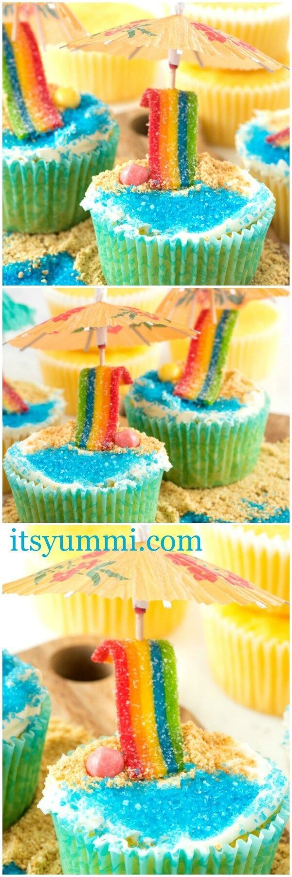 Beach cupcakes are a fun and easy summer-themed dessert. In my opinion, the best cupcakes recipe to make for any summer party! Lemon cupcakes decorated to look like a day at the beach! | Easy dessert | easy cupcakes | summer fun | baking
