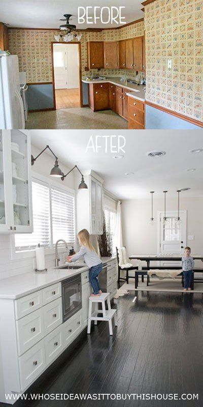 """We spent an entire year working on this DIY kitchen renovation! Check out the """"before"""" and """"after"""". It's hard to believe it's the same kitchen!"""
