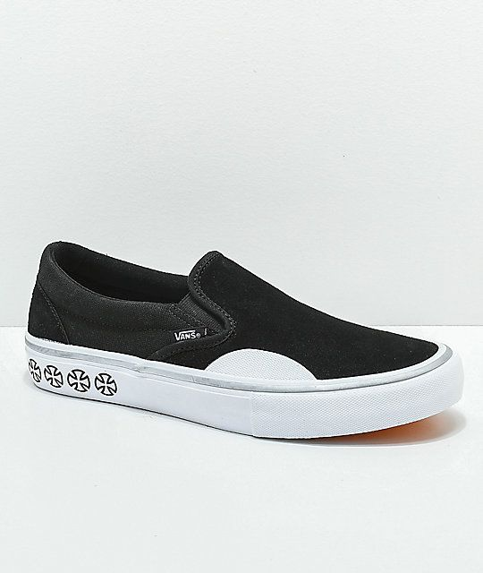 633c7a31c5c3 Vans x Independent Slip-On Pro Black   White Skate Shoes in 2019 ...