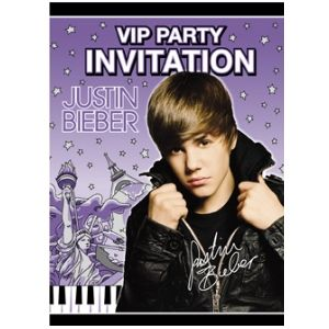 Justin Bieber Invitations. 8 per package.