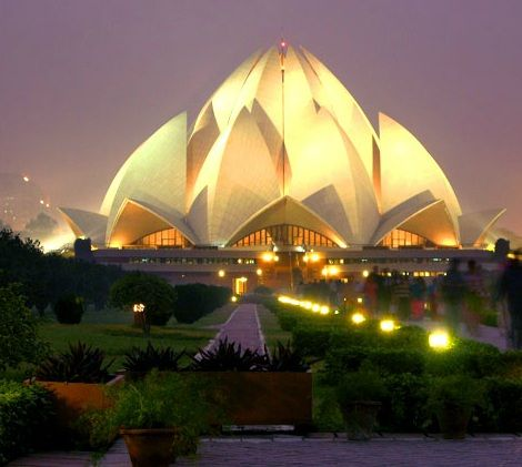 Lotus Temple in India: Gorgeous day or night! (There are beautiful reflecting pools around the entire building which would be so easy to relax and sit by for hours)