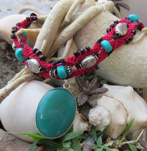 Red, black and turquoise - semi precious stone - macrame choker - resin - pendent - boho - tribal - necklace   # Item is handmade using macramé knotting