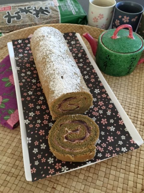Matcha Swiss Roll with Red Bean Cream