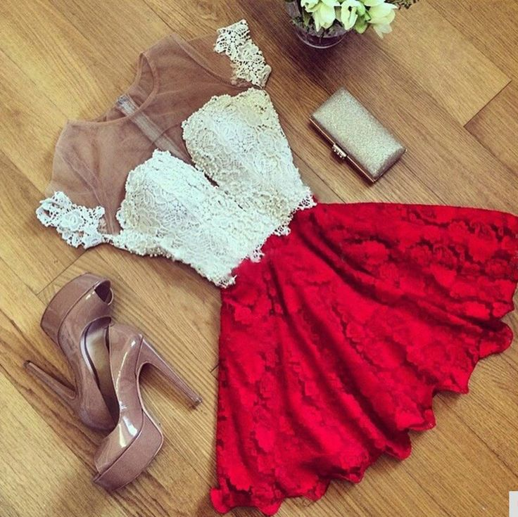 Elegant Red Lace and Chiffon Dress