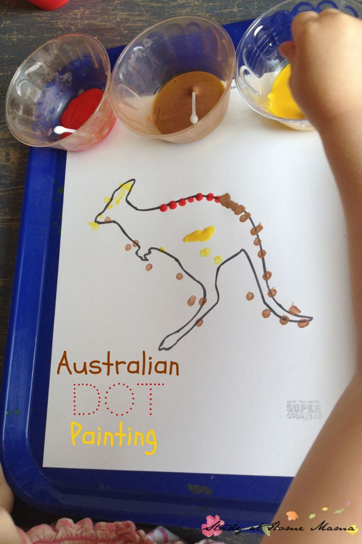 Kids Craft Idea: Australia craft: Aboriginal dot painting - part of an Australia Unit Study, geography for kids