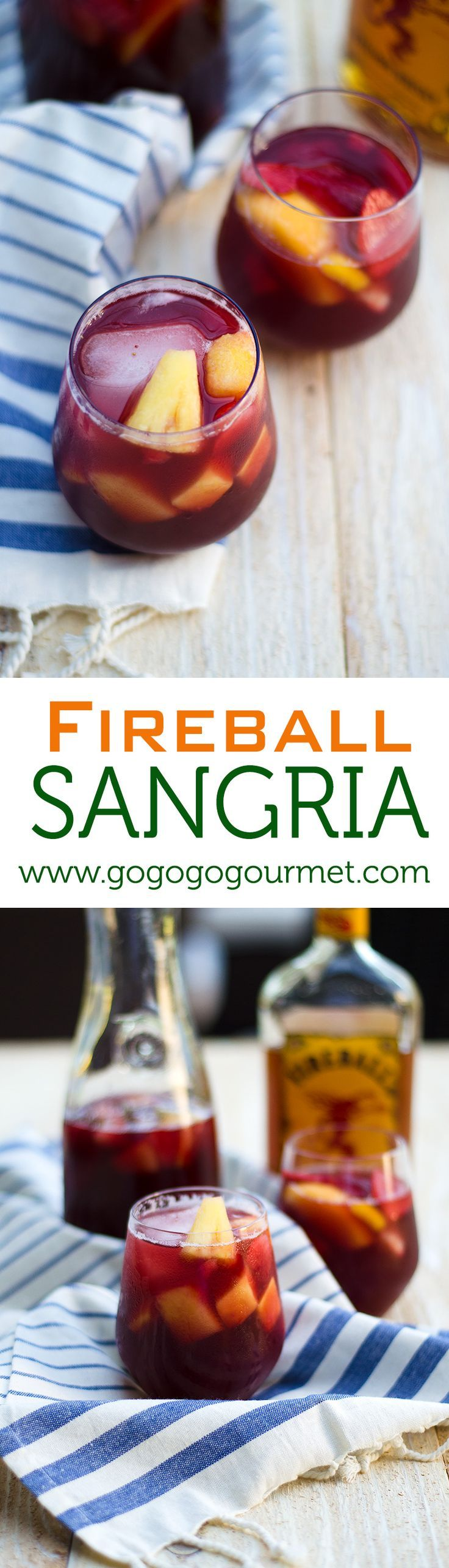 Kick off your summer with the ultimate sangria- featuring Fireball Whiskey for an extra punched up flavor! Unbelievably refreshing, you'll be drinking it till fall! | Go Go Go Gourmet