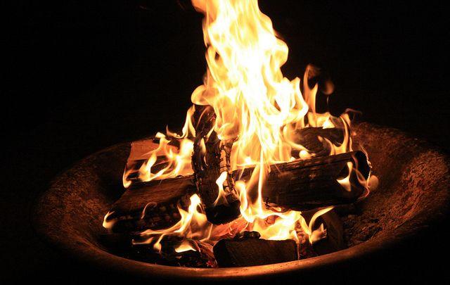 Beautiful fire bowl burning bright