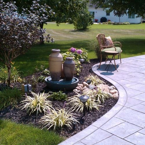 Cement Ideas For Backyard cement patio with drop off google search 4000 Patio With Stamped Concrete Design Ideas Remodel Pictures Houzz