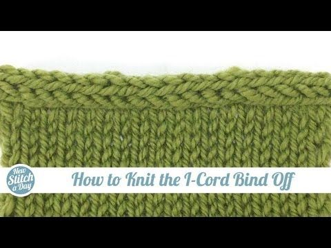 How to Knit the I-Cord Bind Off ... knitted cast on three stitches method, shows how to finish row