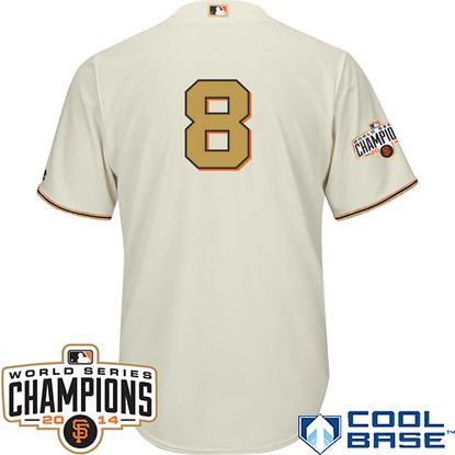 San Francisco Giants 2015 Cool Base Hunter Pence Commemorative Gold Jersey w/2014 World Series Champions Patch