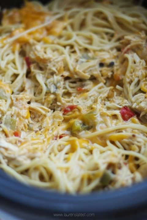Cheesy crock pot chicken spaghetti - very good! I did saute the peppers and onions before putting them in the crockpot, but otherwise followed the recipe exactly. Yum!
