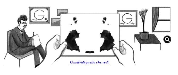 """E voi cosa ci vedete? Google dedica uno """"psicologico""""doodle a Hermann Rorschach (8 novembre 1884 – 2 aprile 1922), psichiatra svizzero creatore del Test di Rorschach, un originale metodo psicodiagnostico che si avvale di una serie di tavole coperte di macchie d'inchiostro nere o policrome che il paziente deve interpretare."""