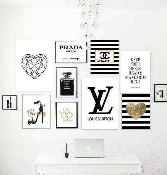 22 printable files. Fashion printable pack. Perfume, logo dripping, lipstick, keep your heels, gossip girl, marfa, golden heart, geometric