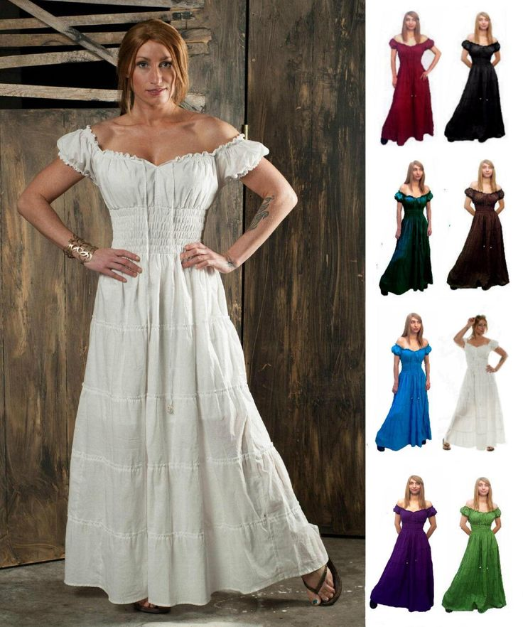 RENAISSANCE DRESS COSTUME COTTON PIRATE PEASANT WENCH MEDIEVAL BOHO CHEMISE in…
