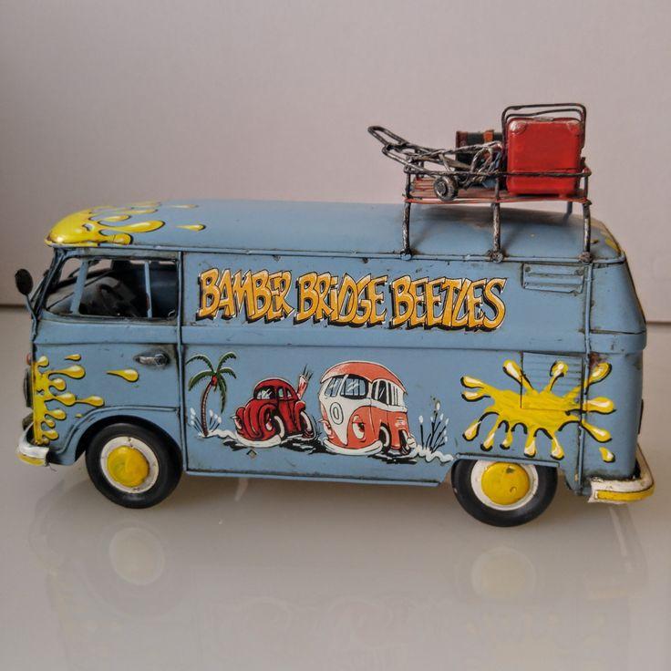 "Tin Metal VW Kombi Bus type   ""Bamber Bridge Beetles"" Volkswagen Camper, 1967 scale model, Split screen windshield, Decor, VW bus, VW van by Jimpiphanys on Etsy"