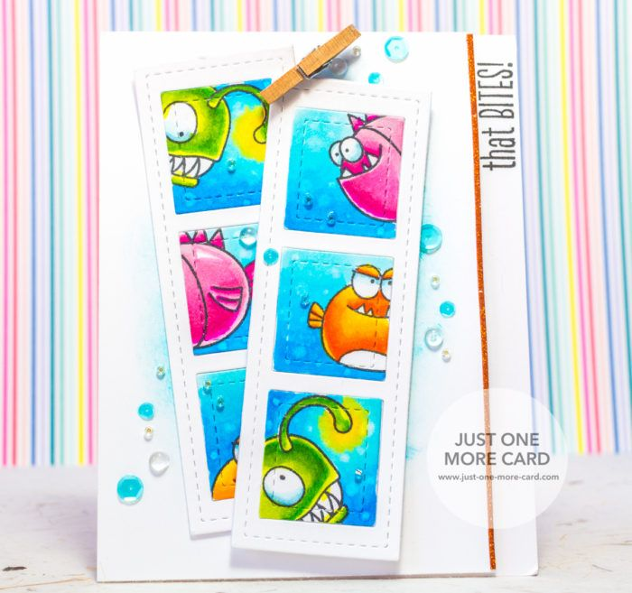 "Stamps by Avery Elle ""That Bites"". Die ""Film Strip"" & Sequins by Pretty Pink Posh. Colored with Copic Markers. Orange Fish: YR09,YR07,YR16,Y17,Y15. Green Fish: G07,YG17,YG03,YG01,Y15+Y00. Pink Fish: RV09,R85,RV34,RV93,R83. Eyes: BG72,BG000. Water: B05,B02,FBG2, Colorless Blender."