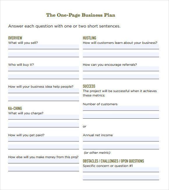 Printable Business Plan Template Fresh Free 21 Simple Business Plan Templates In Pdf Word in 2020 | One page business plan. Business plan template ...