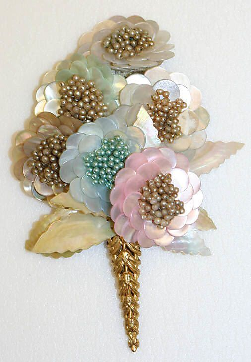 Floral Bouquet dress pin, brooch: 1951, French, made of shell and glass. - (flowers, blooms blossoms, posies, vintage jewelry):