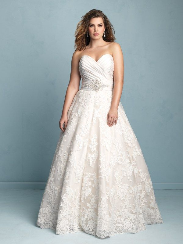 W351 Allure Women Bridal Gown - A gorgeous overlap of textures makes this satin, tulle and lace combination wedding gown stand out.