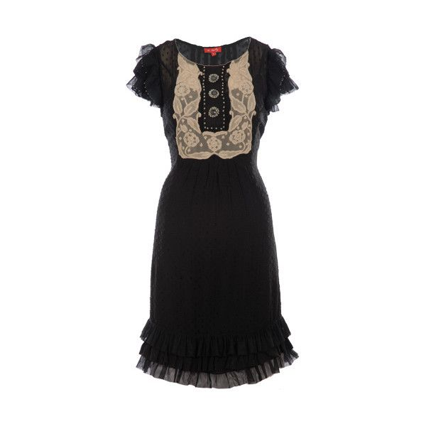 Lace and button frill dress ❤ liked on Polyvore featuring dresses, vestidos, black, black dresses, frilly dresses, ruffle cocktail dress, ruffle dress, flutter-sleeve dress and frilled dress