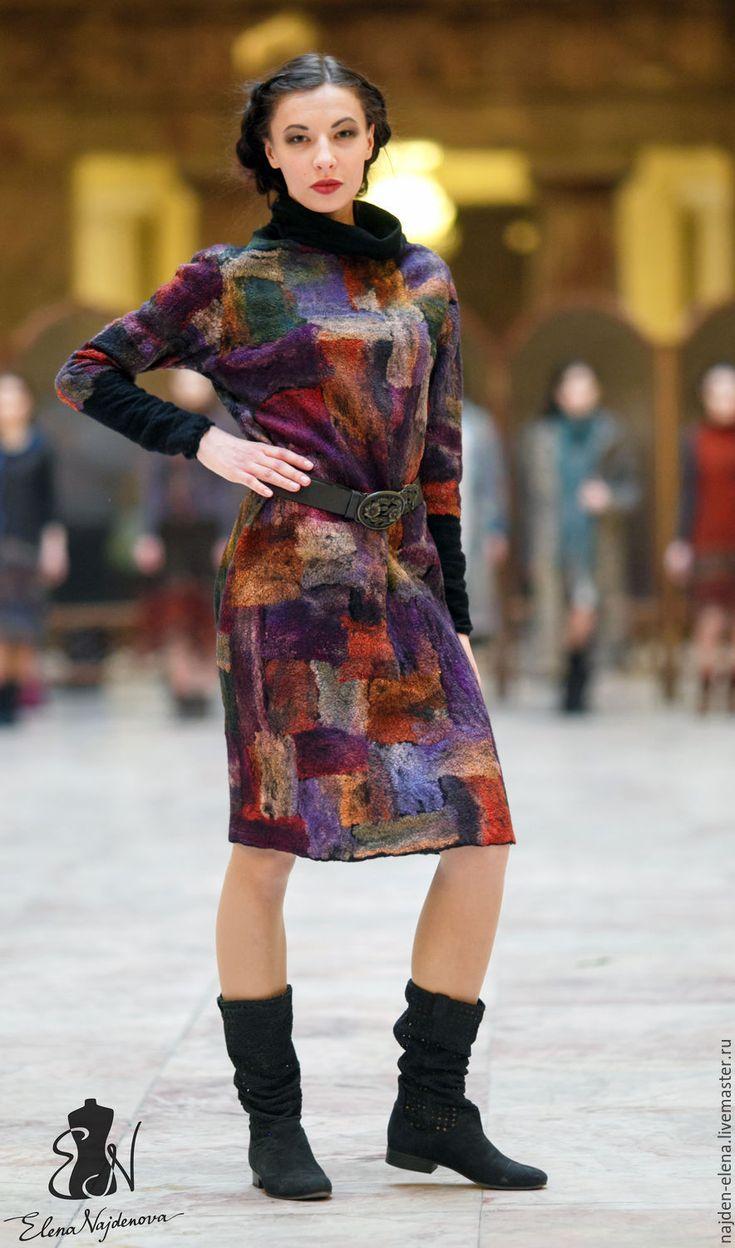 Купить авторское валяное платье - комбинированный, платье, валяное платье, платье повседневное, авторская работа