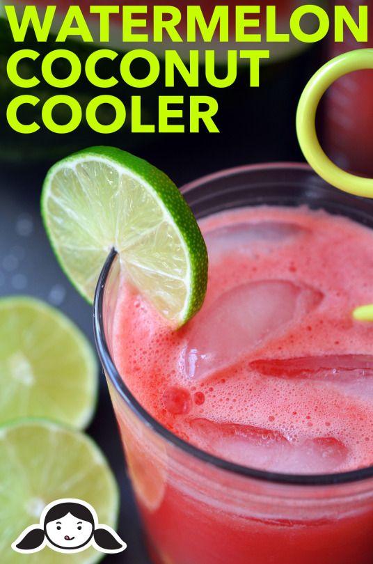Watermelon Coconut Cooler• 3 pounds (1.4 kg) seedless watermelon cubes • 1 cup coconut water • Juice from 1 lime • ⅛ teaspoon sea salt