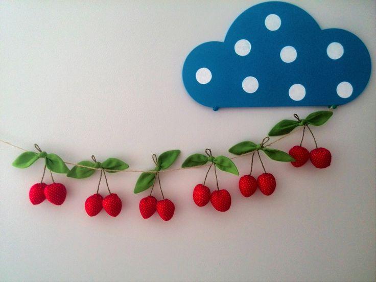 Garland stof-Fruit-zomer-stof banner-stof bunting-Garland-Cherry-kinderkamer inrichting-Nnursery garland-Baby douche-stof garland door HandmadeToyStore op Etsy https://www.etsy.com/nl/listing/385857642/garland-stof-fruit-zomer-stof-banner