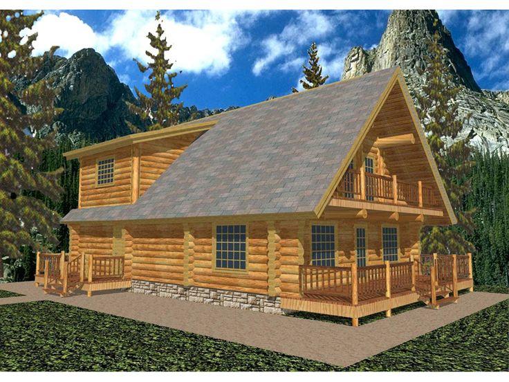 A frame style log cabin house with outdoor balcony for for Log home design e planimetrie