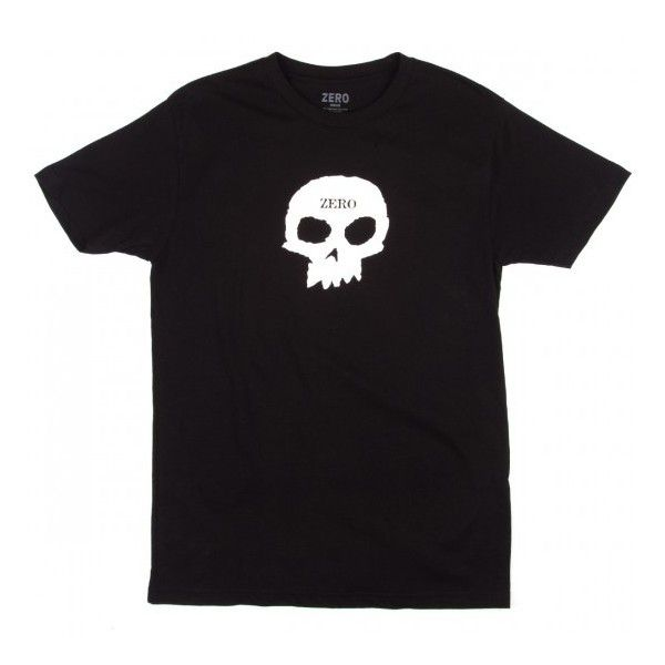 Zero Single Skull T-Shirt - Black ($20) ❤ liked on Polyvore featuring tops, t-shirts, skull t shirt, skull graphic t shirts, skull tee, skull print t shirt and skull graphic tees
