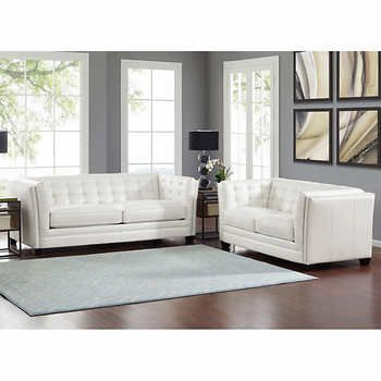 Seymour White Top Grain Leather Sofa And Loveseat Button Tufted Back