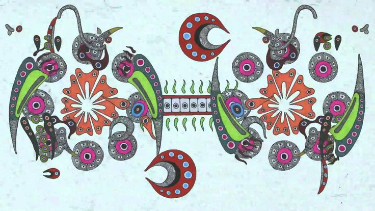 """""""A log day of timbre"""", Mirai Mizue, 2011. L'artiste s'est inspiré des cellules présentes dans notre corps pour créer cette vidéo. L'utilisation d'un fond blanc et de couleurs vives, de motifs épurés puis complexes, d'une rythmique d'abord simple et régulière (plusieurs dizaines d'éléments se déplacent parallèlement, perpendiculairement,en cycles) qui ensuite s'emballe et se désordonne créé une symphonie visuelle dans laquelle on se plonge et on voyage."""