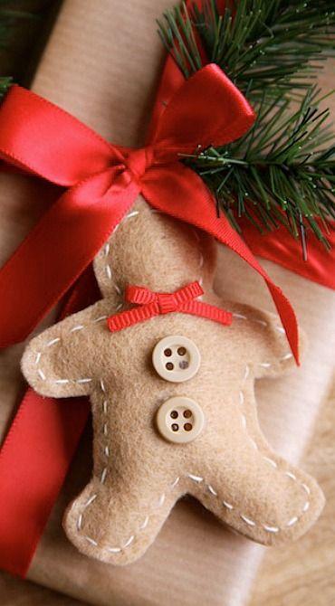 Felt Gingerbread Man Ornaments & Gift Tags