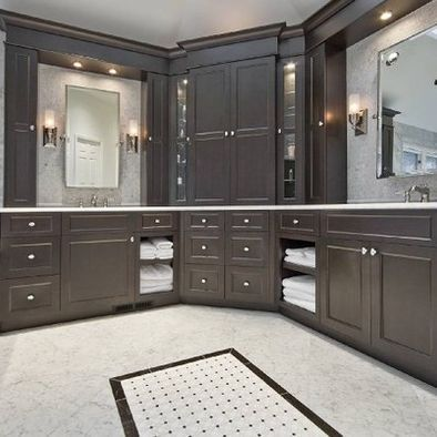 Corner Bathroom Vanity Design, Pivot Mirrors