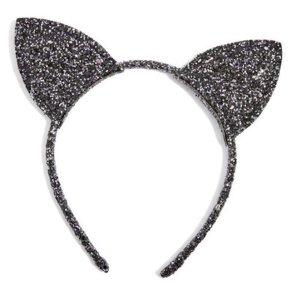 Women's Topshop Glitter Cat Ears Headband (56 RON) ❤ liked on Polyvore featuring accessories, hair accessories, black, glitter headbands, cat ears headband, hair band accessories, head wrap headbands and hair band headband