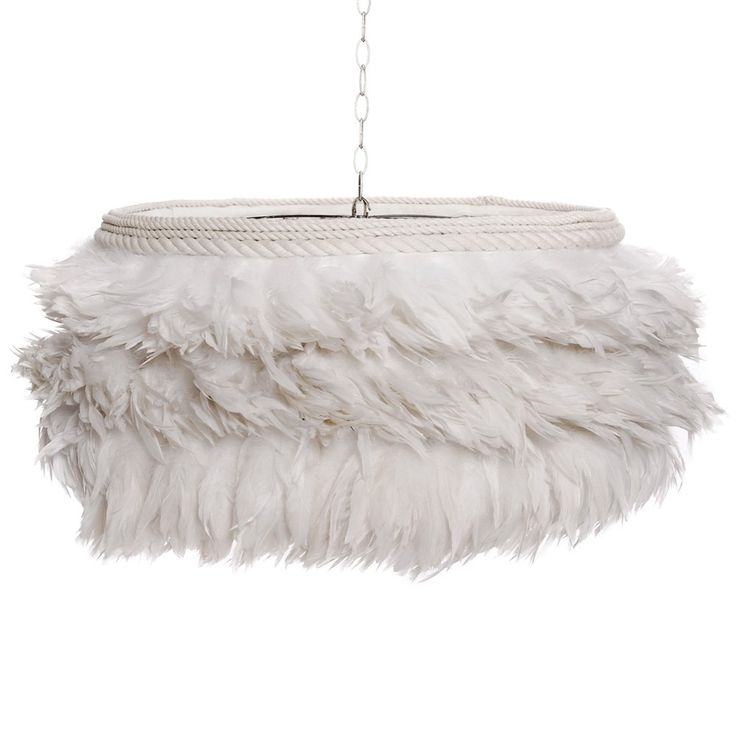 Ruffle the right feathers with this stunning floating feather light! #whitehaute #featherfantastic #whitewonder