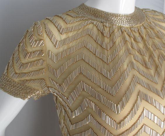 1960s Donald Brooks Silk Chiffon Beaded Cocktail Dress in Chevron ...: