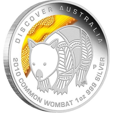 Discover  2010 Dreaming – Common Wombat 1oz Silver Coin   coin , perth mint coins, bullion coins , silver  coins