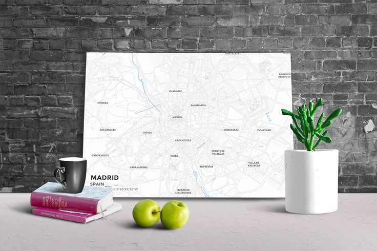 Gallery Wrapped Map Canvas of Madrid Spain - Subtle Ski Map - Madrid Map Art
