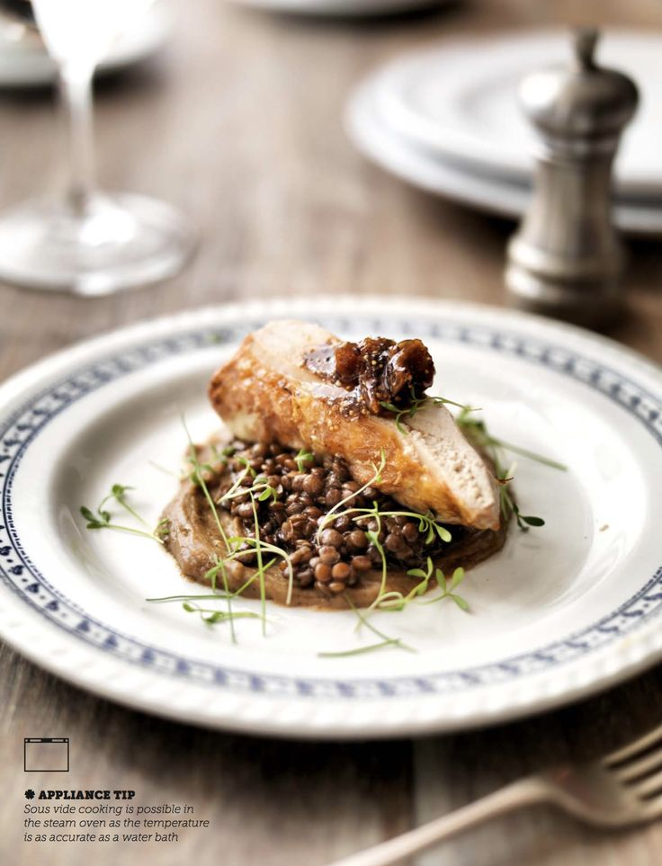 Our recipe for Guinea Fowl Breasts with Braised Lentils, Fig Mostarda and Burnt Parsnip Purée makes an impressive Sunday dinner alternative, with the meat cooked to perfection in the Miele Steam Oven and finished in a fry pan for deliciously crispy skin