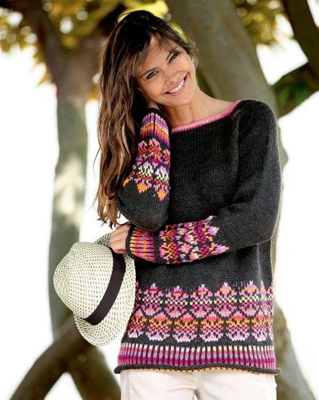 http://www.hendesverden.dk/handarbejde/Strik/Strik-selv-Sweater-med-monster