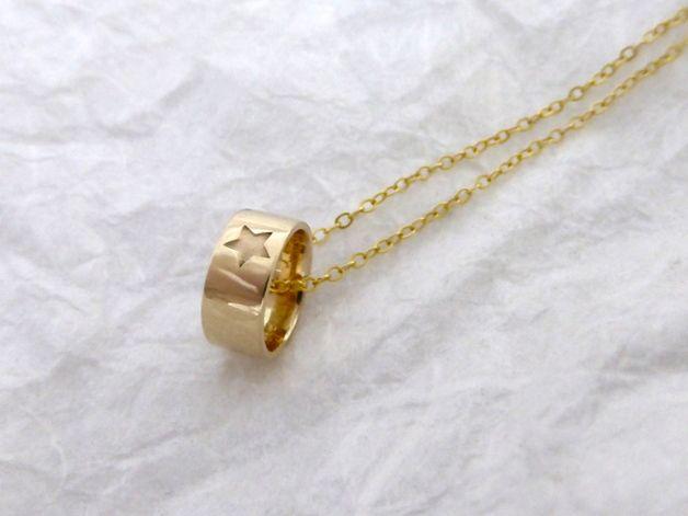 """Taufring """" kleiner Stern"""" Namenskette 585er Gold"""