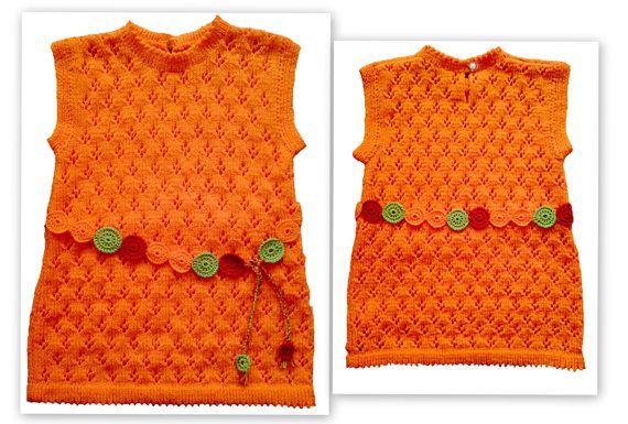 Girls' dress handmade hand knit hand knitted of soft by woolopia, $40.00