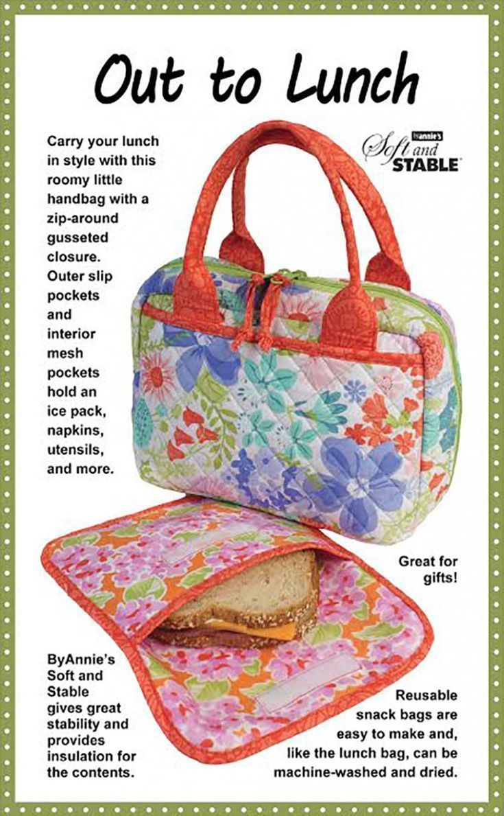 Out To Lunch Sewing Pattern By Annie Unrein Lunch Bags Pattern