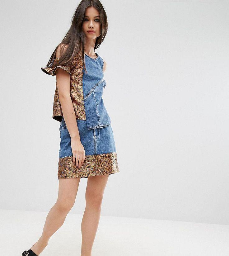 ASOS PETITE Denim Mini Skirt with Jacquard Hem Co-ord - Blue
